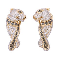 Diamond Panther 14 Karat Gold Huggie Hoop Earrings