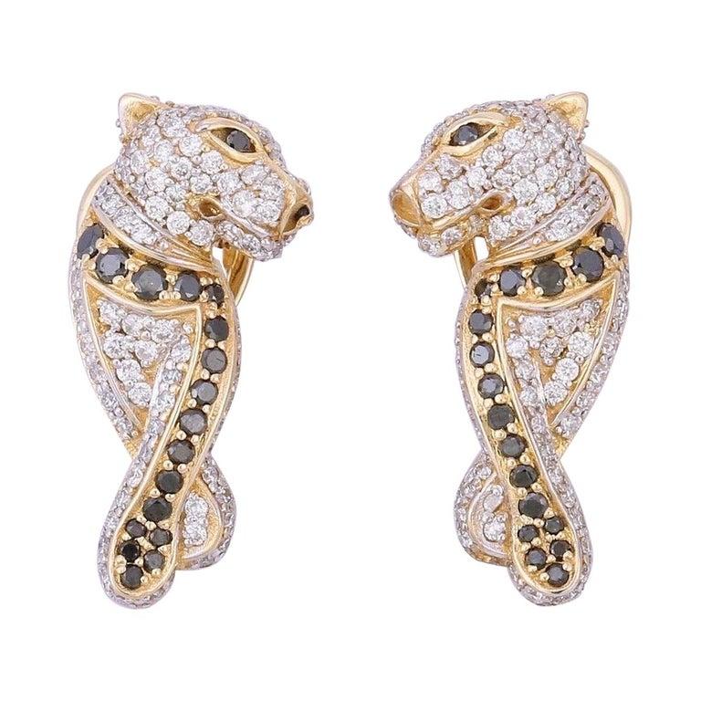 Diamond Panther 14 Karat Gold Huggie Hoop Earrings For Sale