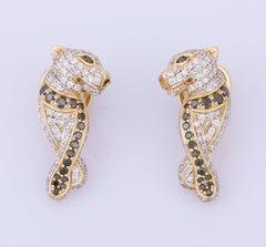 Diamond Panther 14 Karat Gold Huggie Hoop Earrings