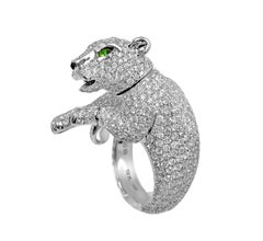 Diamond Panther Ring 18 Karat White Gold with Green Eyes Animal Statement Ring