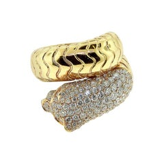 Diamond Panther Wrap Around Ring with Ruby Eyes and Onyx Yellow Gold