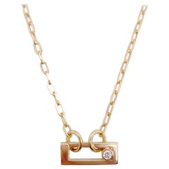 Diamond Paper Clip Charm Necklace, 14K Gold Paperclip Chain .10 Carat Diamond