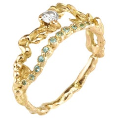 Diamond Paraiba Tourmaline 18 Karat Yellow Gold Ring