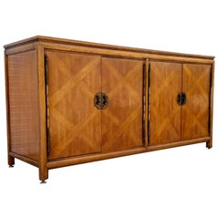 Diamond Parquet Pecan Wood Hollywood Regency Credenza