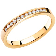 Diamond Partial Yellow Gold Stacking Millgrain Edge Band