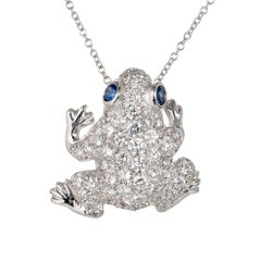 Diamond Pavé Sapphire Frog Gold Pin Pendant Necklace