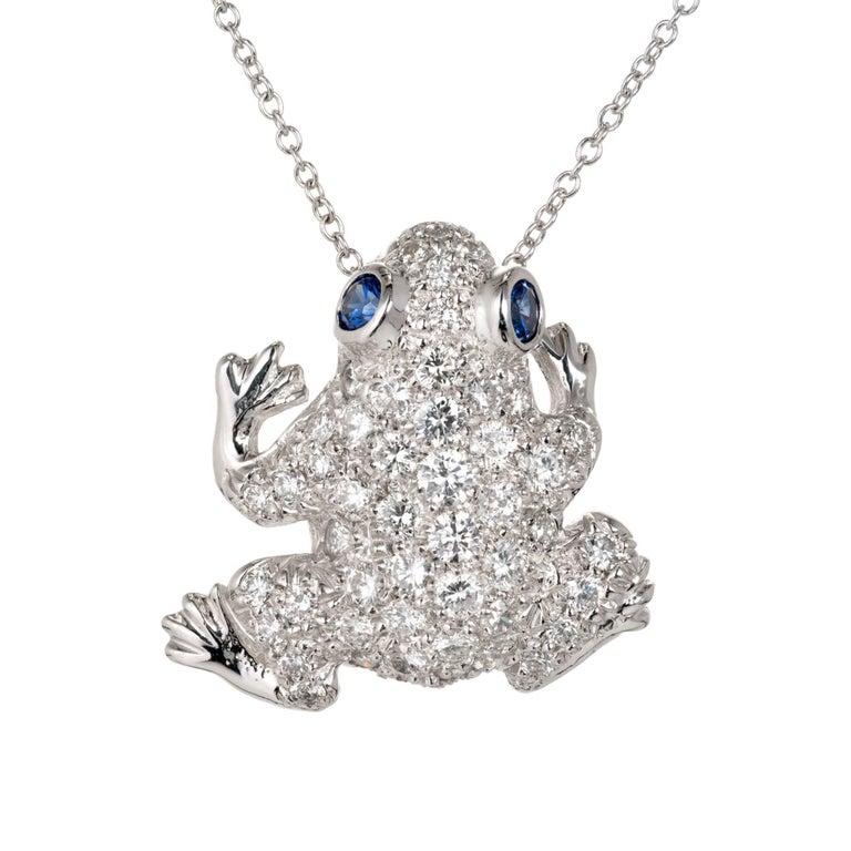 Diamond Pavé Sapphire Frog Gold Pin Pendant Necklace