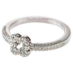 Diamond Pave 18 Karat White Gold Engagement Handmade Four Corners Clover Ring