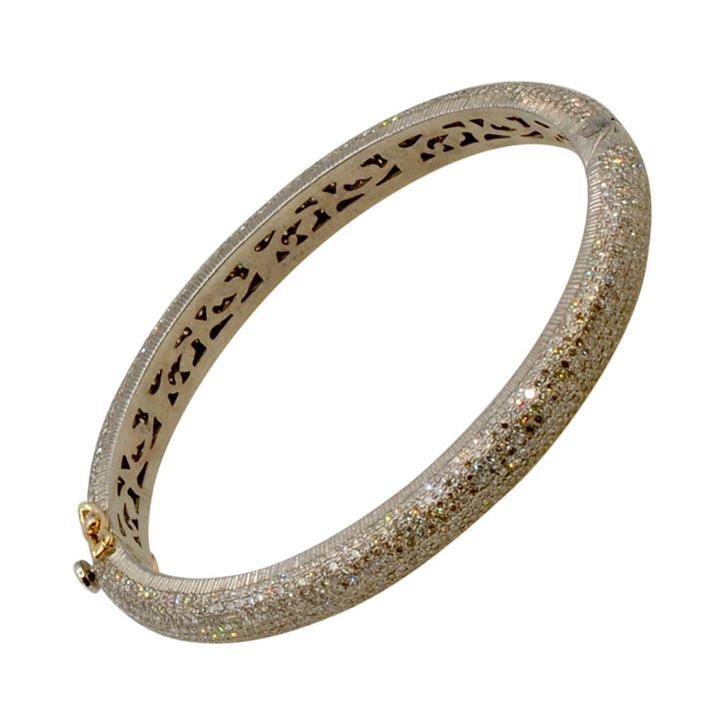 Diamond Pave 6.25 Carats Clamper Bracelet in Sterling Silver and 14 Karat Gold