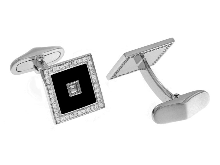 Art Deco 18 Carat White Gold Diamond Square Pave' and Black Enamel Cufflinks For Sale