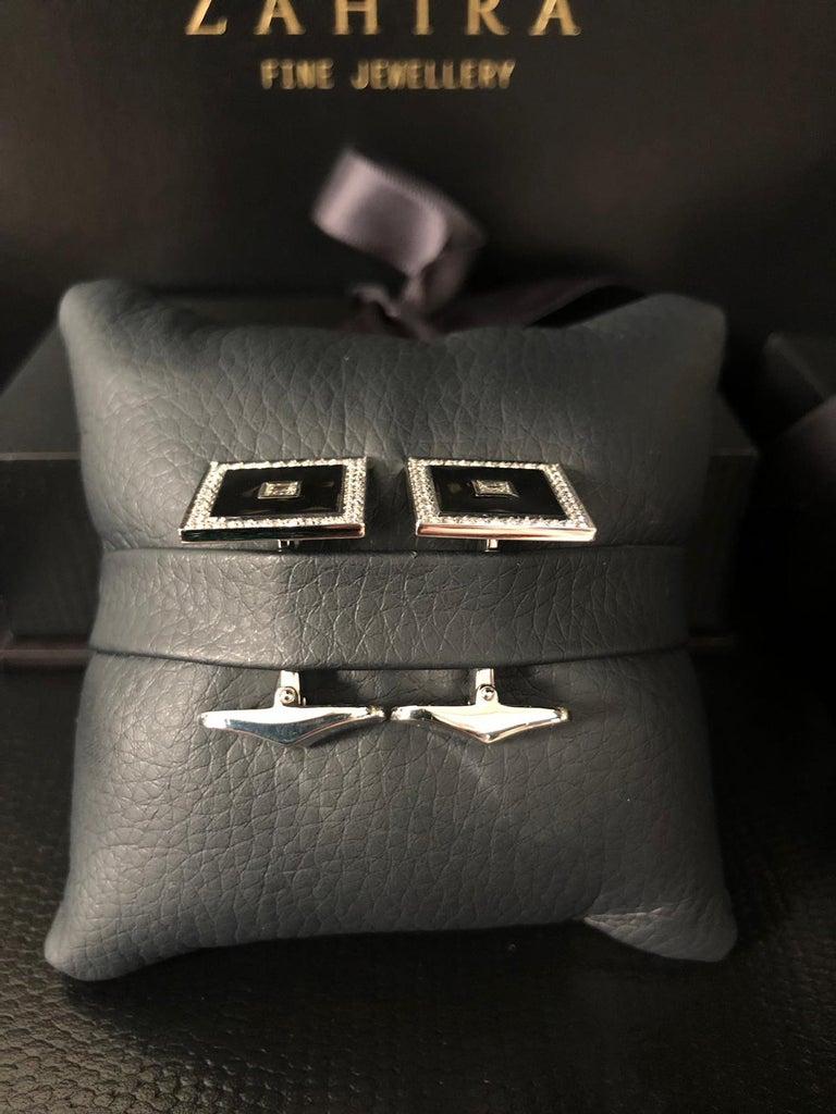 Men's 18 Carat White Gold Diamond Square Pave' and Black Enamel Cufflinks For Sale