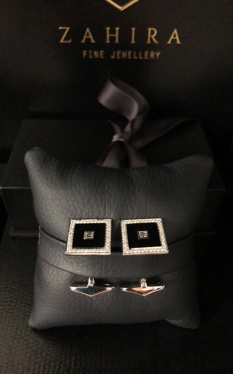 18 Carat White Gold Diamond Square Pave' and Black Enamel Cufflinks For Sale 1