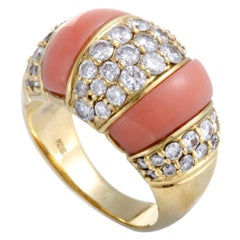 Diamond Pave and Coral Bombe Gold Ring
