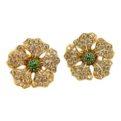 Diamond Pave and Emerald Flower Earrings