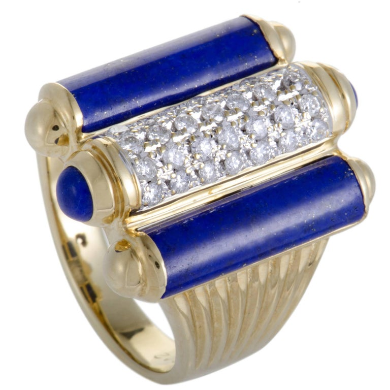 Diamond Pave and Lapis Lazuli Gold Ring