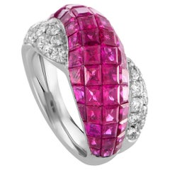 Diamond Pave and Ruby Invisible Setting Crisscross White Gold Band Ring