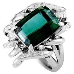 Diamond Pave and Tourmaline Platinum Rectangle Ring