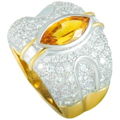 Diamond Pave and Yellow Sapphire Marquise White and Yellow Gold Wide Band Ring