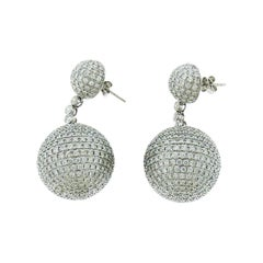 Diamond Pave Ball Earrings in 18 Karat White Gold