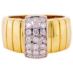 Diamond Pave Band, 18 Karat Yellow Gold DGA Wide Band W 21 Diamonds