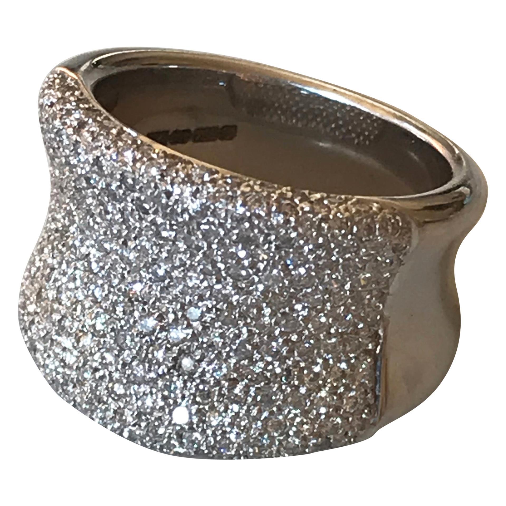 Diamond Pavé Bombe Concave Cocktail Ring, 18 Carat White Gold