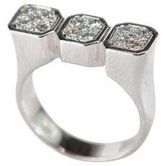 Diamond Pave Brilliant 18 Karat White Gold Three Rectangle Shape Cocktail Ring