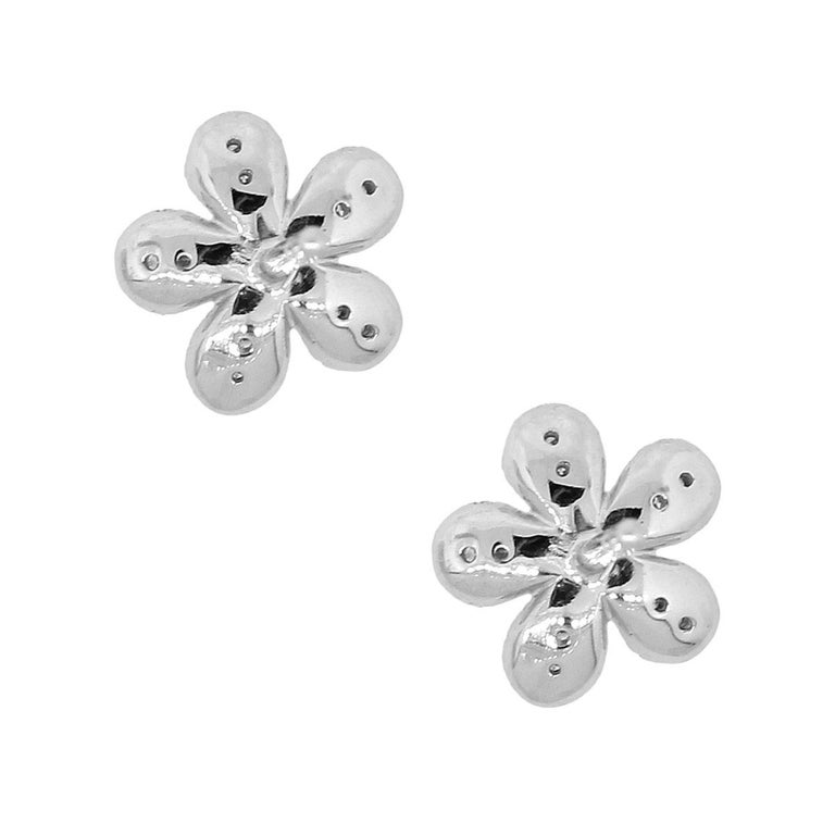 Diamond Pave Cluster Flower Earrings In Excellent Condition In Boca Raton, FL