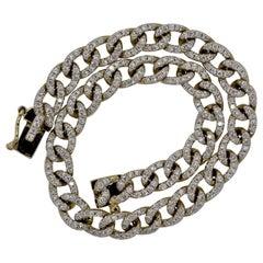 Diamond Pave Curb-Link Gold Bracelet
