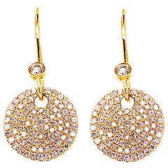 Diamond Pave Earring Dangles 14K Gold 1/2 Carat '0.50 Carat' Diamond 14 Karat