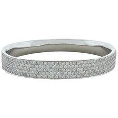 Diamond Pavé Gold Hard Bangle Bracelet