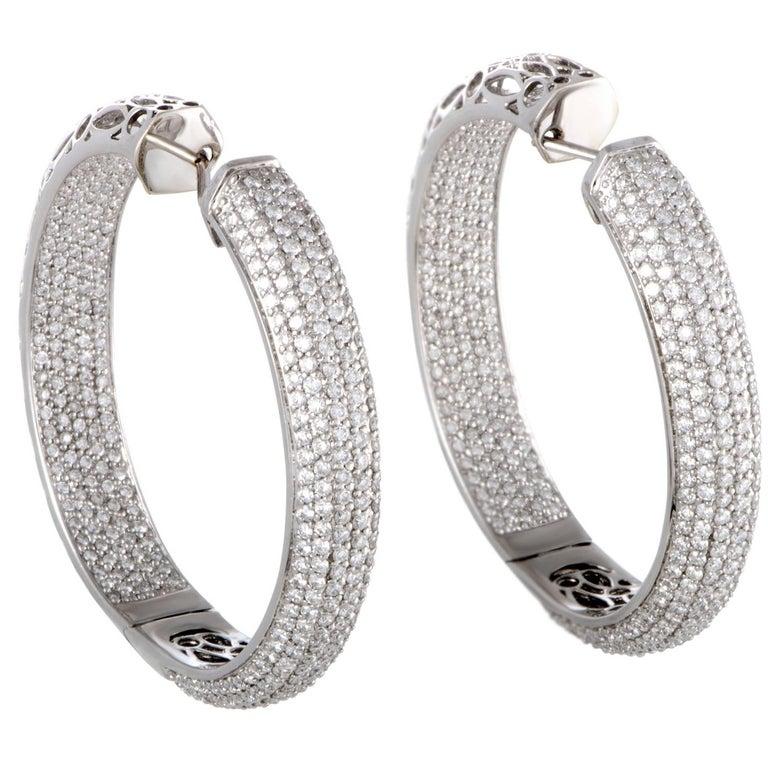 Diamond Pave Gold Hoop Earrings