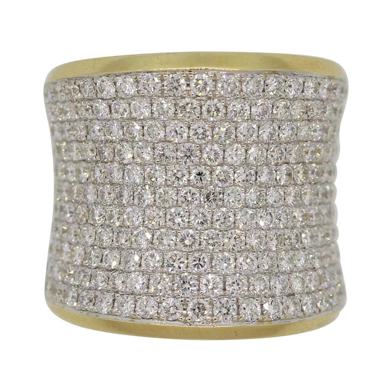 Diamond Pave Gold Wide Band Ring