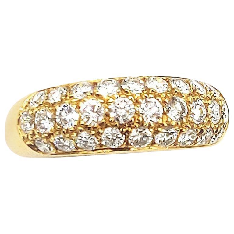 Diamond Pavé Half Round 18 Karat Yellow Gold Band Ring