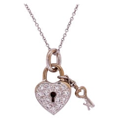 Diamond Pave Heart Lock and Key 18k Gold Pendant Necklace Estate Fine Jewelry