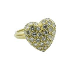 Diamond Pave' Heart Ring in 18 Karat 2.54 Carat