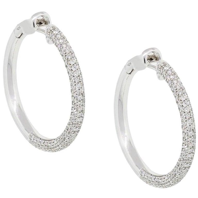 Diamond Pave Hoop Earrings For Sale