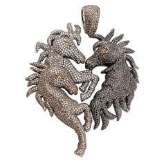 Diamond Pave Horses Pendant in Silver
