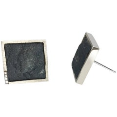 Diamond Pave' in White Gold on Rough Hematite Square Stud Earrings