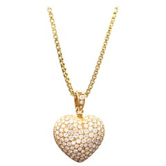 Diamond Pavé Inflated Heart Pendant with 18 Karat Gold Box Chain