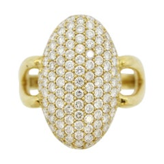 Diamond Pave Navette-Style Gold Ring