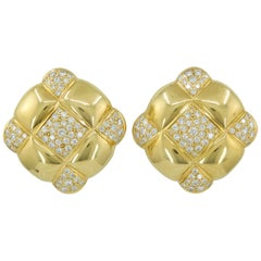 Diamond Pave Yellow Gold Quilt Earrings
