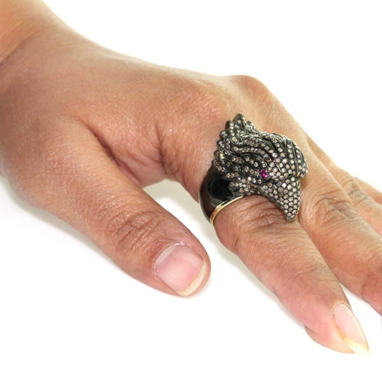 Round Cut Diamond Pave Raven Ring For Sale