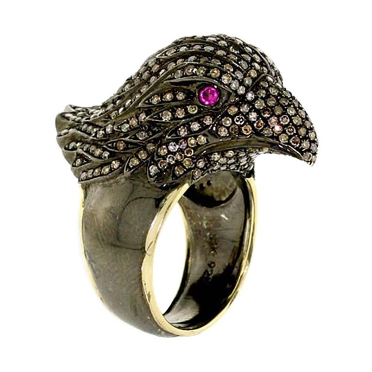 Diamond Pave Raven Ring For Sale