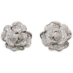 Diamond Pave Rose Flower Motif Pierced Earrings 18 Karat White Gold 1.53 Carat