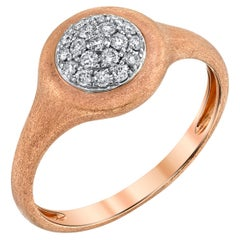 Diamond Pave, Rose White Gold Signet Cocktail Ring, Brushed Finish, .22 Ct. t.w.