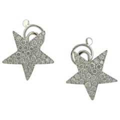 Diamond Pavé Set 18 KT White Gold Stars Earrings Made in Italy