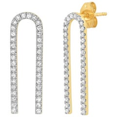 Diamond Pave U Shape Earrings, Gold, Ben Dannie