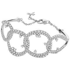 Diamond Pave White Gold Cuff Bracelet by Casato