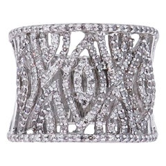 Diamond Pave Wide Open Work Ring