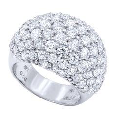 Diamond Pavé Wide Statement Cluster Fancy Ring 6.68 Carat 18 Karat White Gold